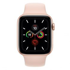 Apple Watch 44mm Series 5 GPS + Cellular Gold Aluminum Case w/ Pink Sand Sport Band front