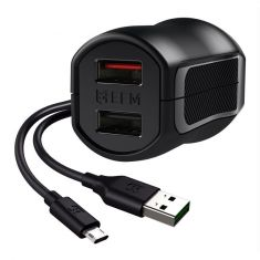 EFM 17W Dual Wall Charger with Flipper Micro USB Cable - Black - main