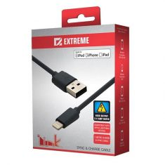 Extreme Link Lightning 1m 2.4A Sync & Charge Cable Fount Side