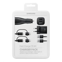 Samsung Fast Charge Charger Pack (Wall + Car Charger + 2 Combo Cables) Front