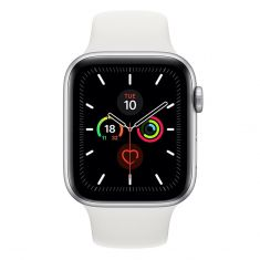 Apple Watch 44mm Series 5 GPS+Cellular Silver Aluminum Case w/ White Sport Band front