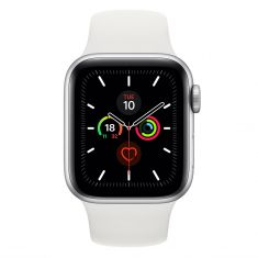 [Open Box - As New] Apple Watch 40mm S5 (Cellular) - Silver Al Case w/ White Sport Band front