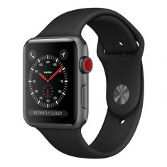Apple Watch 42mm Series 3 Space Grey Aluminium Case with Black Sport Band (GPS + Cellular) Front Side