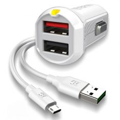 EFM 17W Dual Car Charger with Micro USB Cable - White - main