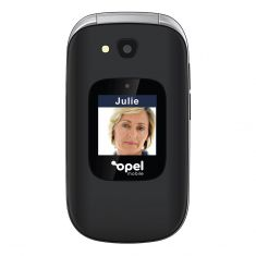 Opel Mobile Flip Phone Plus (3G, Keypad) - Black Front